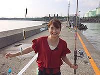 釣り初心者の矢田美沙希さん。初めて釣りに挑戦します。