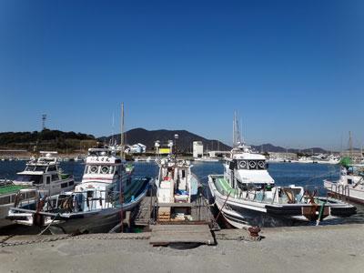 丸万釣船の船と店の写真
